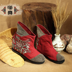Chinese dance authentic women's national wind in autumn-tube booties with embroidered flat high boots show