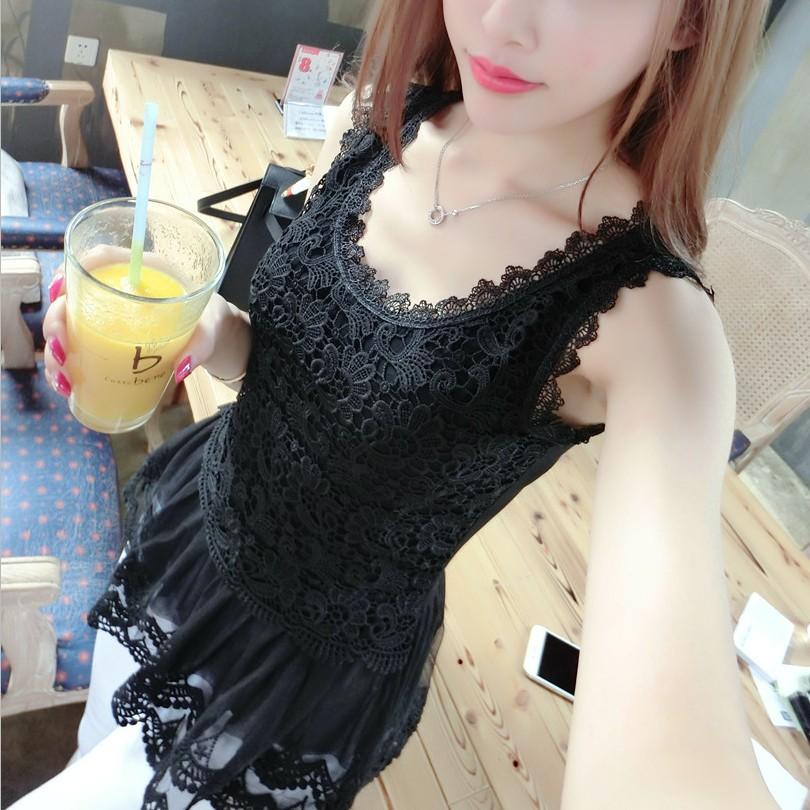 Корейская версия жилет женщин Сарафаны на лето тонкий конец Подола кружево без рукавов плюс размер кружева верхней