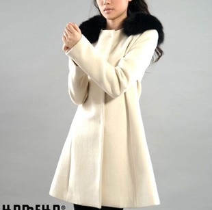 ZAAL white fox fur collar wool winter coat Slim woolen coat woolen coat female D241