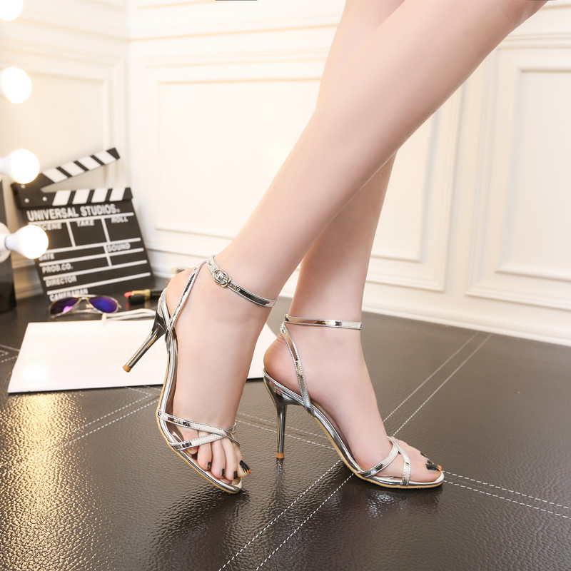 Summer 2021 new high-heeled sandals womens thin heel button strap open toe sexy white silver small size 313233