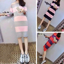 European 2015 autumn outfit fashionable stripe in color with long sports recreational skirt loose open fork knitted dress