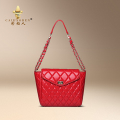 2015 new Korean casual versatile leather handbags for fall/winter small fields breathe sweet rhombic diagonal chain baodan shoulder bag