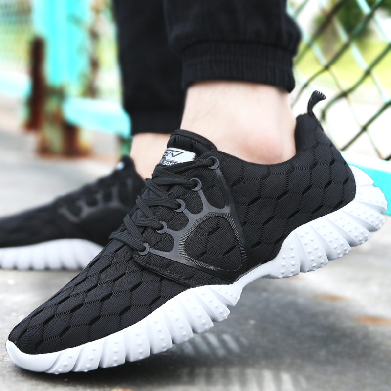 Soconi sports shoes mens fashion shoes Korean version breathable leisure running shoes spring lovers net shoes travel shoes mens board shoes