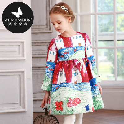 Graffiti in the spring and autumn girl dress long-sleeved pleated children's princess dress the European and American high-end brand children's wear women dress