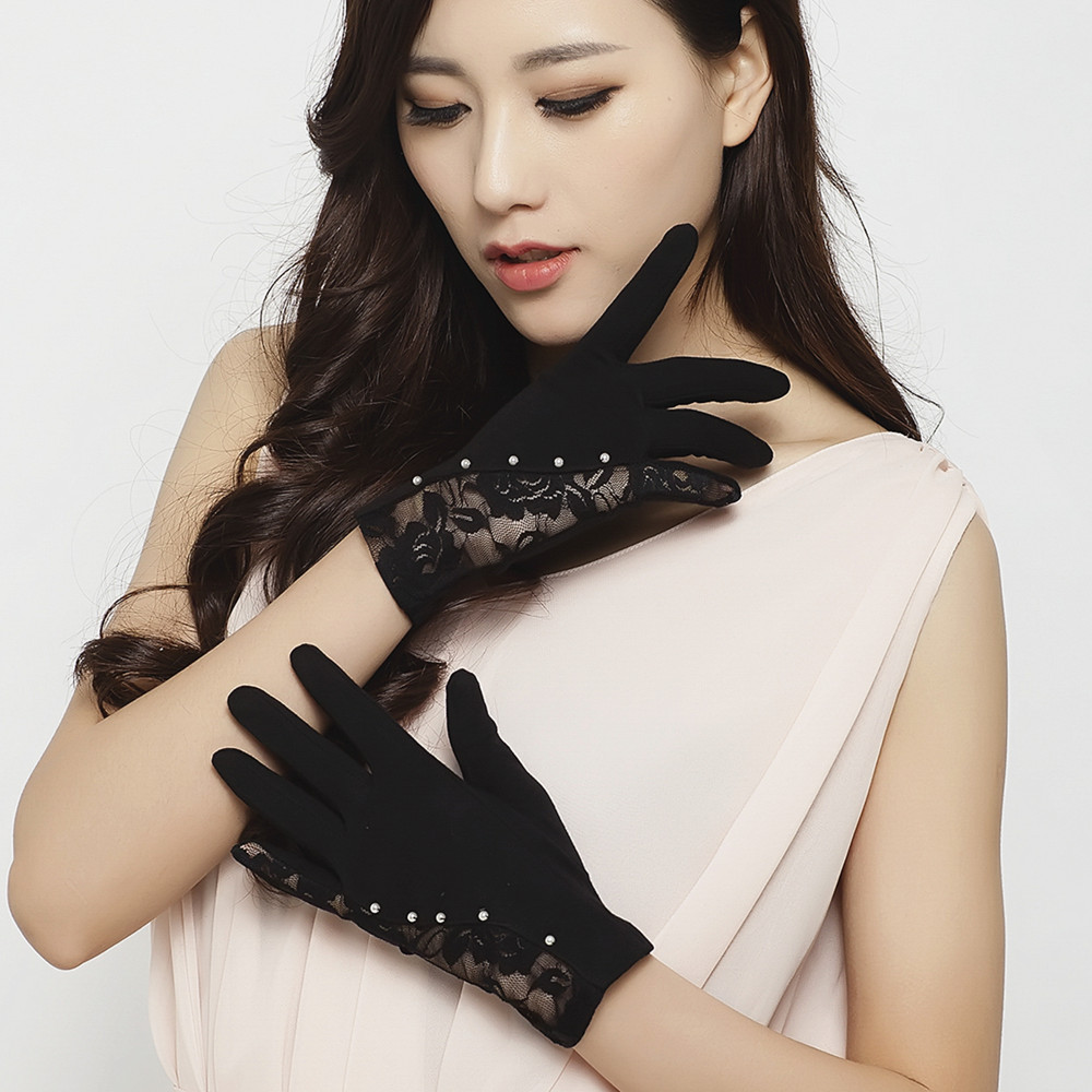 Sunscreen and sunshade driving gloves spring and summer short lace cotton stitching small pearl embellishment package