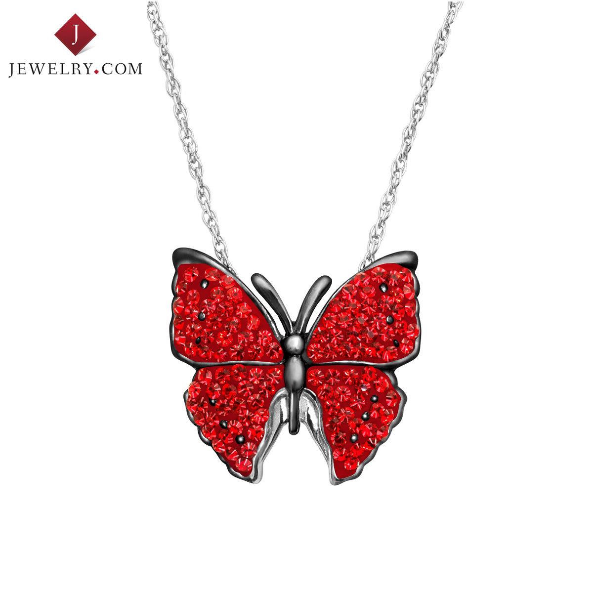 Animal Planet 925 серебро инкрустация красный сваровски мир странный элемент кристалл бабочка подвески женщина отправить ожерелье