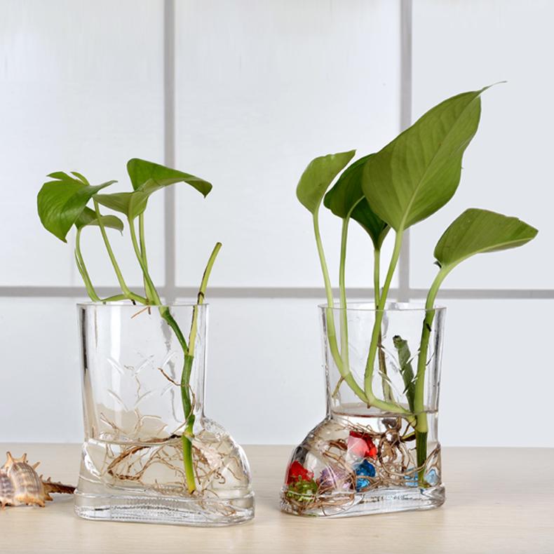 玻璃裝飾品 透明小號玻璃花瓶綠蘿水培花器酒店茶幾餐桌擺件