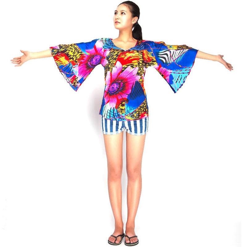 比利时订单夏季新款真丝数码印花炫丽圆领蝴蝶袖衬衣上衣素绉缎