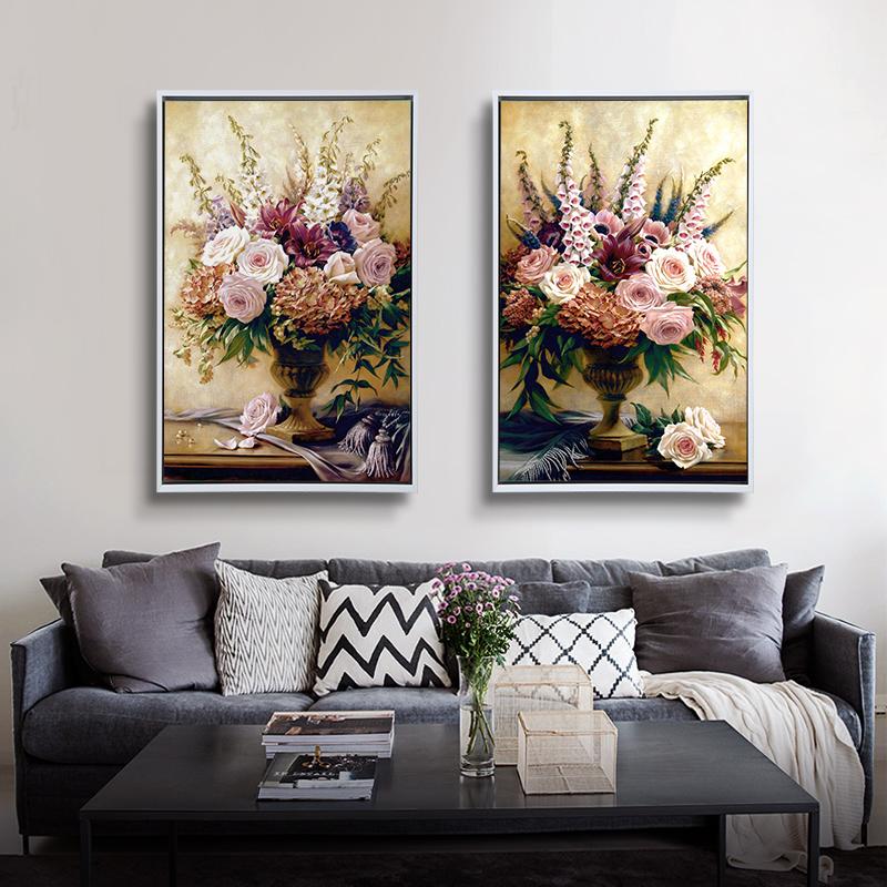 卓画竖版两联欧式现代装饰画客厅餐厅卧室挂画壁画沙发墙画静物