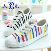 This fall 2015 stripe paint canvas strap for a comfortable shoes Korean paint color flat-bottom shoes shoes