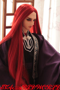 1 3 1 4 SD BJD wig wig 58 black soot silver costume red hair may be flaxen hair