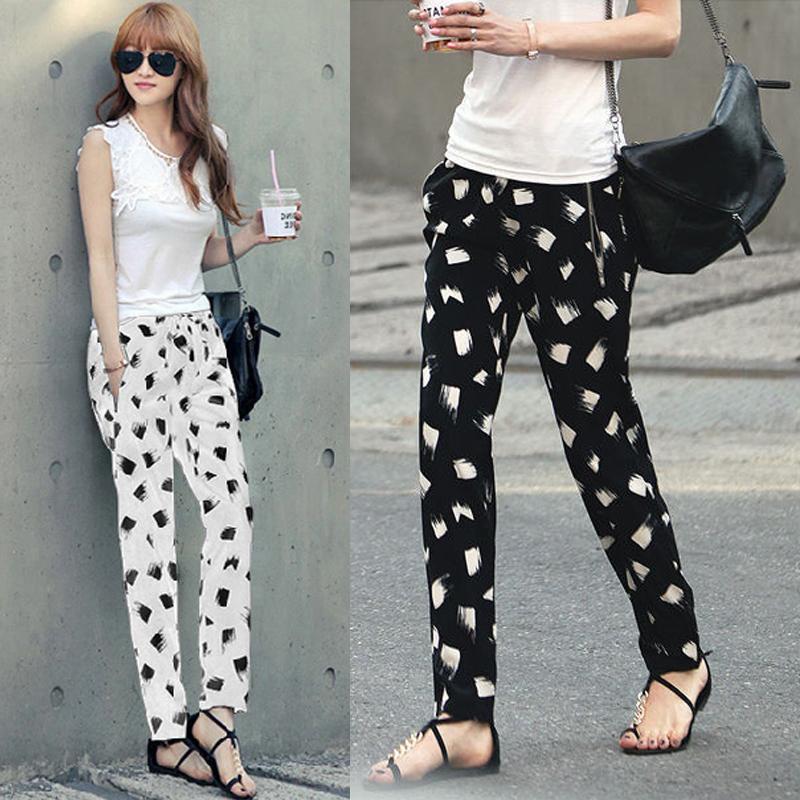 Весна лето 2016 тонкий жира мм свободные шифоновые гарем брюки брюки плюс цветок размер штаны брюки женские брюки в лето прилив