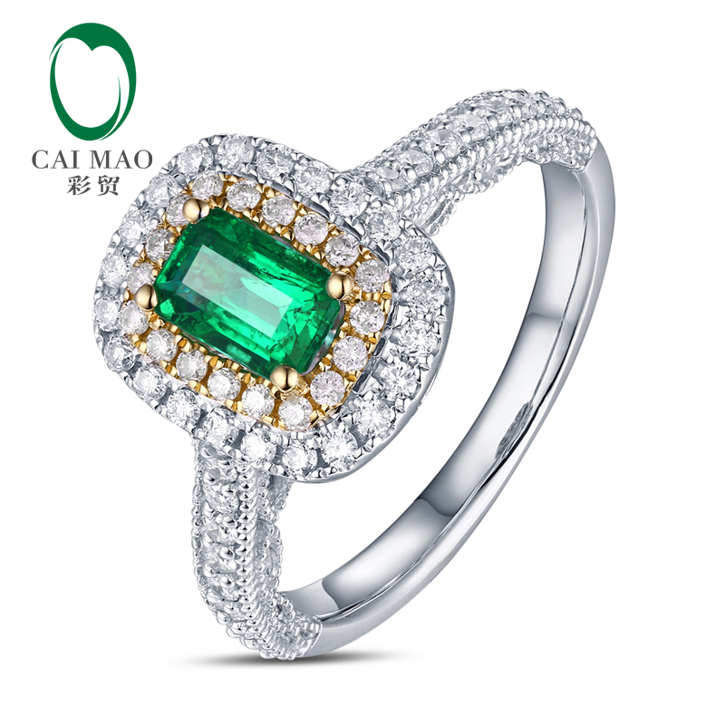 Color trade quality made 60 points emerald color treasure ring 49 points Diamond 18K gold color gem ring