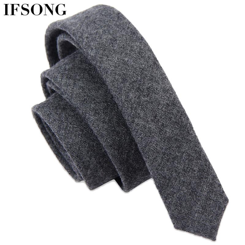 IFSONG 男士羊毛领带韩版工作领带男深灰色休闲窄领带包邮礼盒装