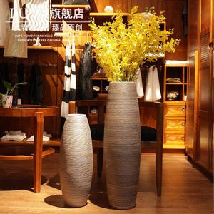 景德镇手工落地大花瓶1米 粗陶瓷器复古瓶摆件 客厅直筒插花花瓶