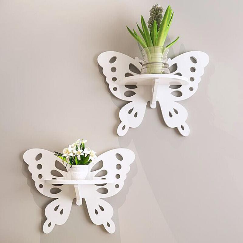 歐式雕花蝴蝶壁架 環保裝飾架白色鏤空壁飾田園風格牆麵裝飾
