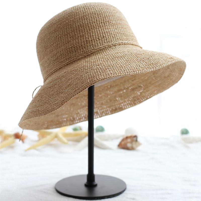 特细出游拉菲草帽子 女士夏韩版 大檐沙滩帽防紫外线遮阳帽可折叠