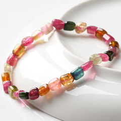 Natural ore tourmaline laps bracelet women''s Rainbow tourmaline small candy bracelets Crystal luster Sheen