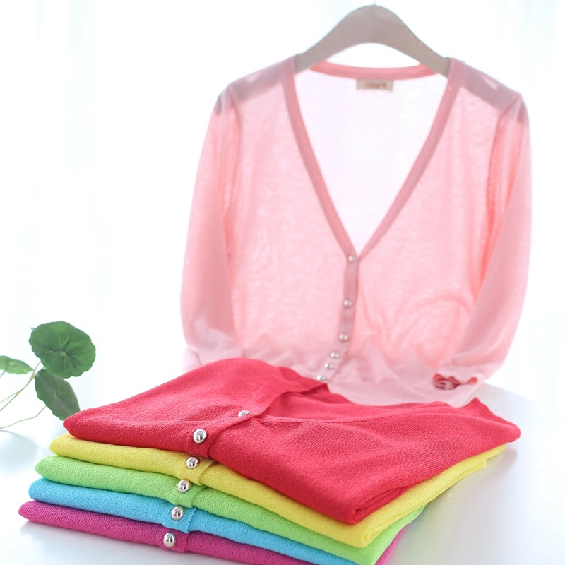New Korean flash ice silk sweater womens cardigan thin coat sweater short pure color air conditioning shirt sunscreen clothes