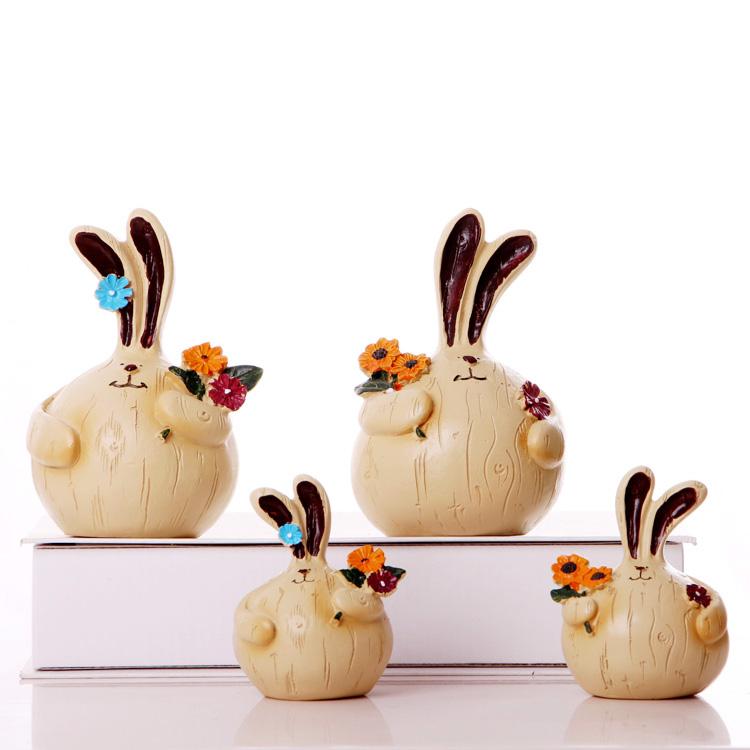 一家四口 田園 樹脂娃娃擺件隔板居家裝飾品擺設 大蒜兔子