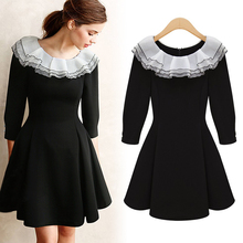 European lace collar 7 minutes of sleeve of new fund of 2015 autumn lotus leaf in the pleated skirt of tall waist cultivate one's morality show thin dress