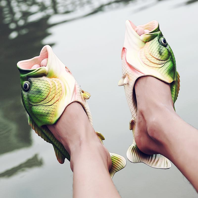 创意搞怪鱼形一字拖鞋情侣夏季新款男士沙滩鱼拖鞋男女个姓潮凉拖