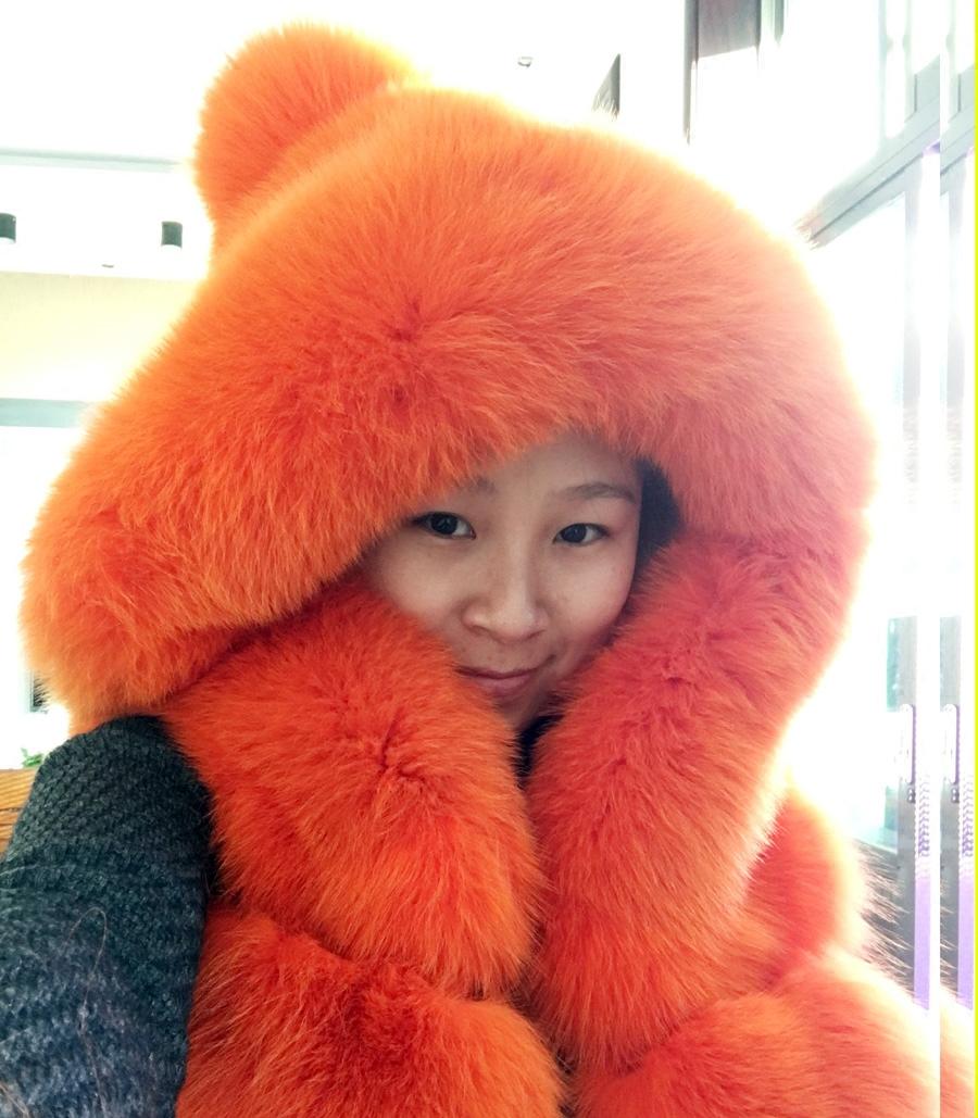 2015新款大毛毛帽子狐狸毛皮草外套马甲橘黄橙色整皮毛球裘皮大衣