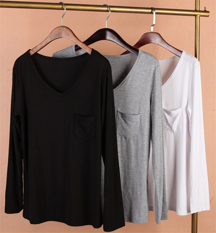Modal base coat Long Sleeve womens 2016 spring and autumn large womens elastic slim V-neck thin solid color T-Shirt Top