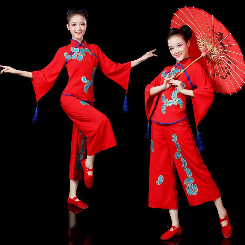 2019新款扇子舞套装成人女古典民族风舞蹈服装广场舞秧歌服演出服