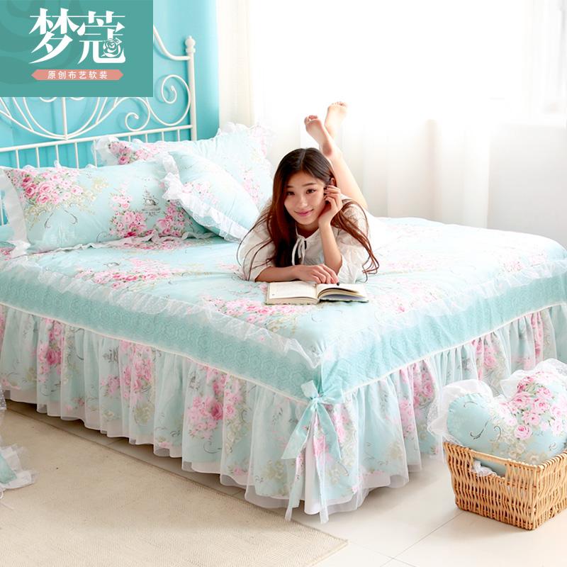 夢蔻 全棉蕾絲床笠 韓式花邊布藝床裙床罩 床單 1.51.8米 多花色