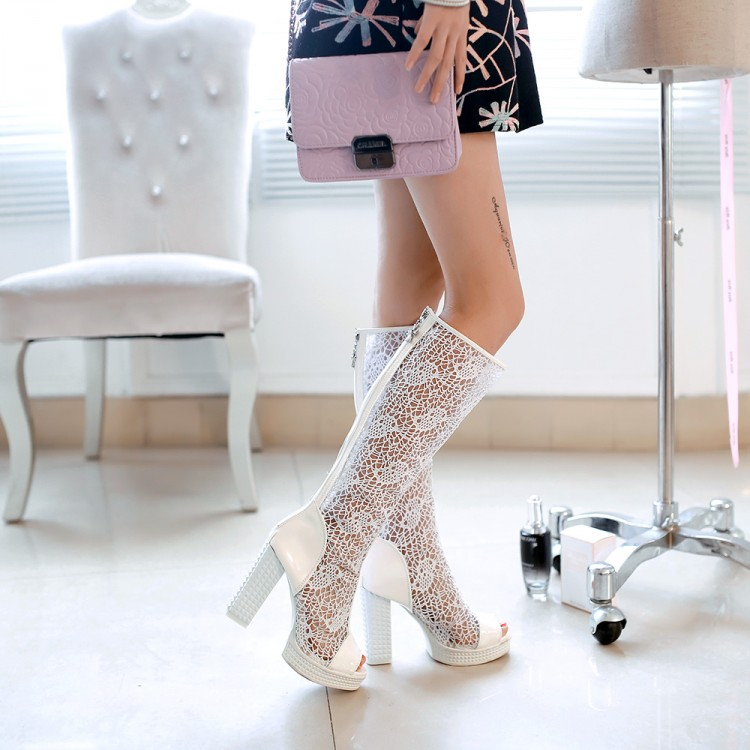 Бесплатная доставка к 2015 году новых прохладной осенью и зимой сапоги кружевные грубых рыб рот с платформы сандалии пятки лакированные сексуальные ботинки с полым