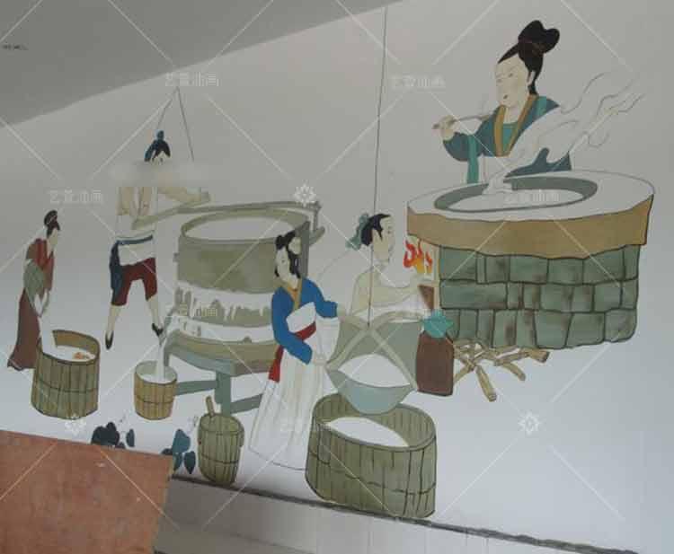 饭店酒楼宾馆家庭墙体墙绘壁画彩绘上门人物简笔画手绘墙服务绘制