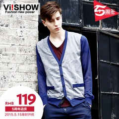 Viishow2015 Cardigan in spring tide men's slim fit v-neck Cardigan knit Cardigan in Ralph Lauren mosaic knitting