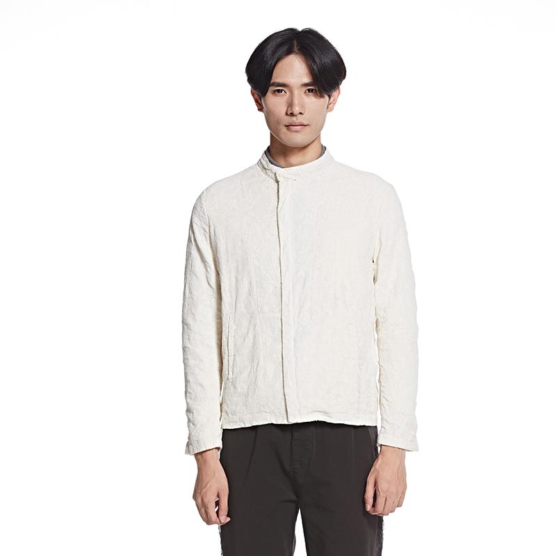 速写男装春夏长袖简约时尚个性绣花水洗短款男士夹克外套9F120039