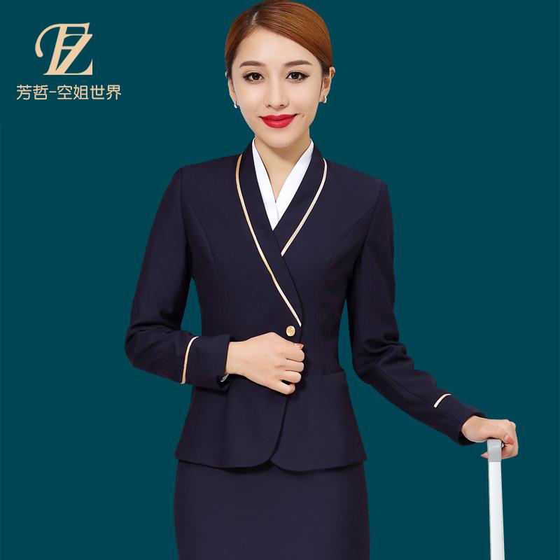 南航空姐製服職業裝女裝套裝裙售樓酒店前台收銀員套裝工作服