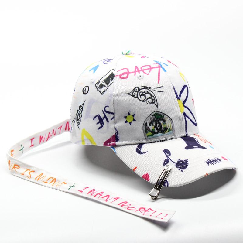 權誌龍同款帽子長帶子塗鴉圖案棒球女夏天 百搭學生 男鴨舌