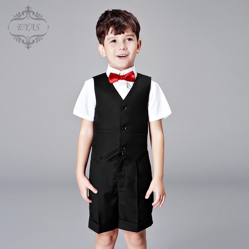 EYAS儿童礼服春夏装男童套装马甲四件套童装韩版花童短袖衬衫短裤