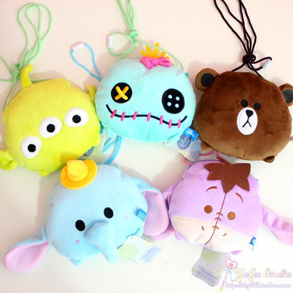 日本人气可爱三眼仔小金小飞象伊尔驴棕熊毛绒玩具斜挎包斜背包萌