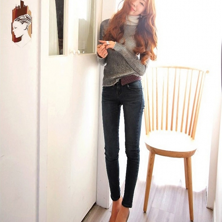 Clearance in 2020 dark blue Tight Sexy Stretch low waist jeans pants Leggings pencil pants spring