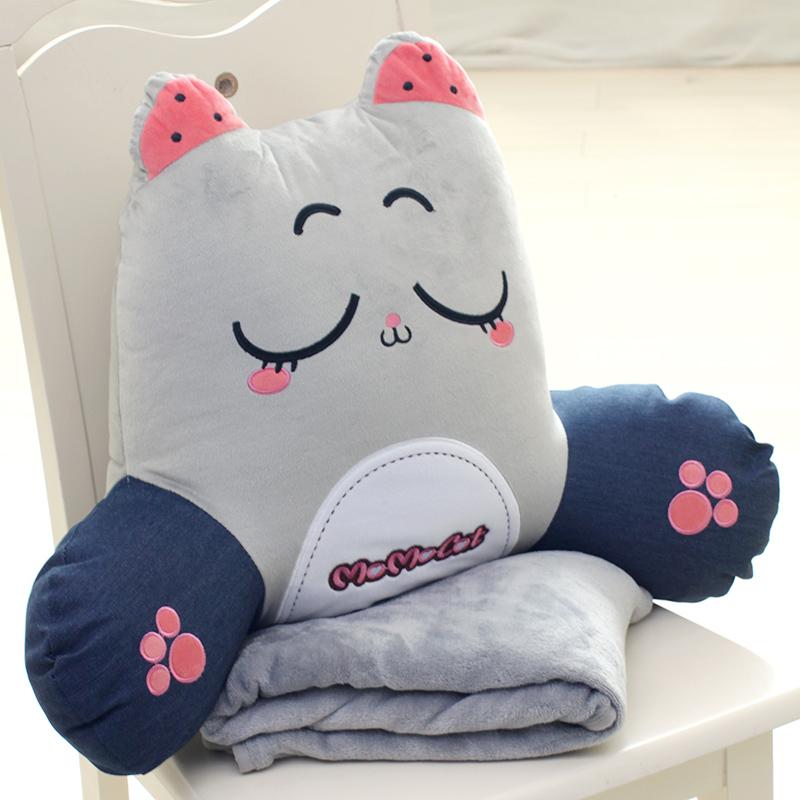 加大可拆洗腰枕午睡毯子抱枕被子兩用辦公室靠墊床頭靠枕沙發腰靠