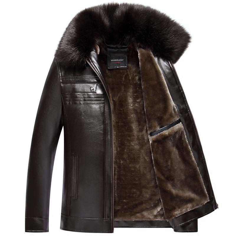 中年男士中老年保暖皮夾克