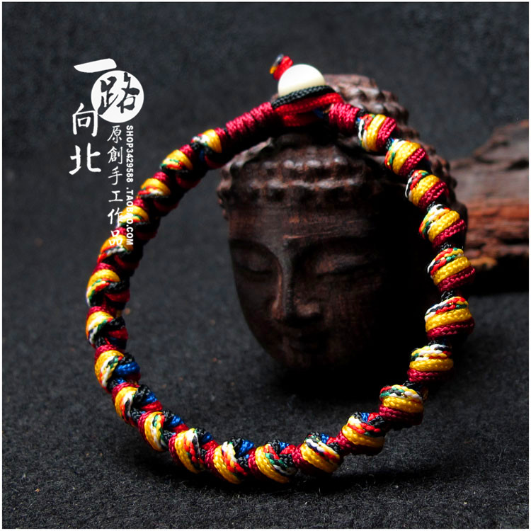 Hand made Kaiguang diamond knot men and women transport Red Rope Bracelet foot rope color rope transport exorcism fortune peach blossom