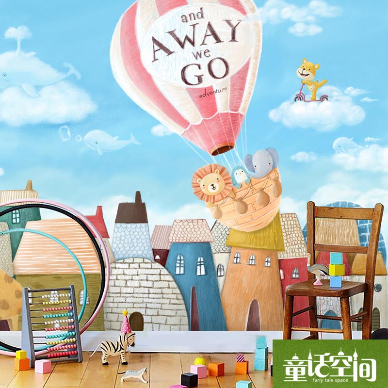 韩式大型壁画墙纸定制 儿童房卧室背景墙装饰蓝色热气球 天空之城