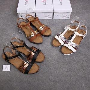 清倉瑕疵夏季歐美范厚底松糕女露趾T型帶軟底蛇紋色拼接羅馬涼鞋