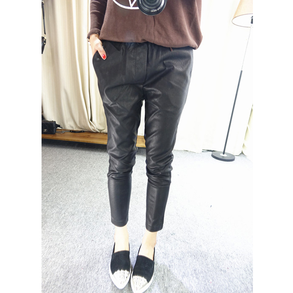 New Korean PU leather pants in spring and autumn of 2018
