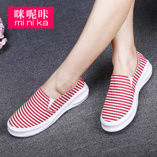 Autumn wind round canvas of England 2015 Lok Fu shoes women lazy sets foot shoes and leisure shoes soft bottom platform shoes