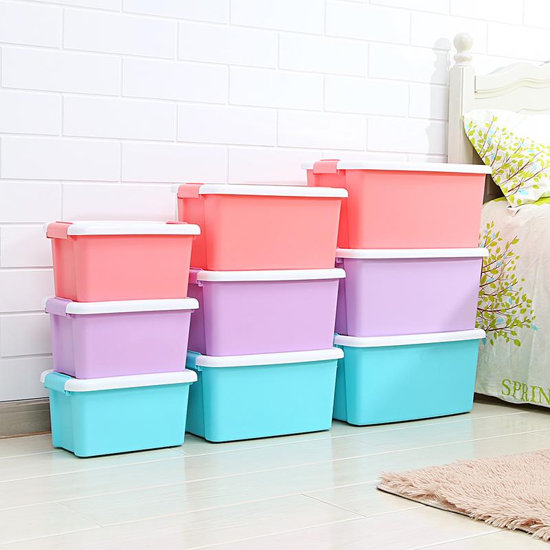 艾仕可塑料收纳箱收纳盒有盖大小号手提储物箱衣服玩具整理箱