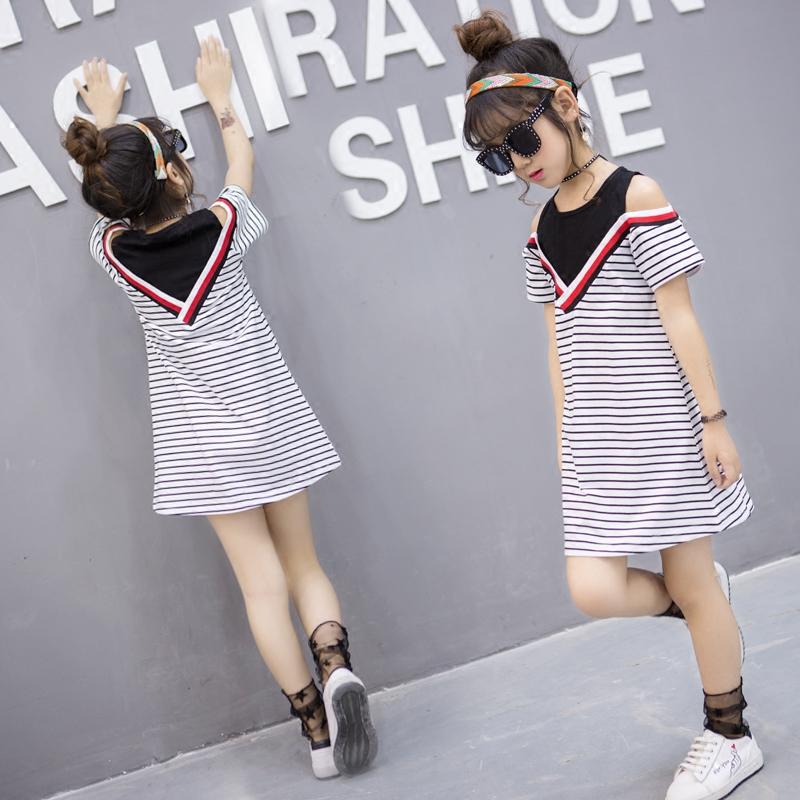 Ребятишки девочки заправила женщины летний костюм новый ребенок хлопок платье девочки корейский лето девочка юбка