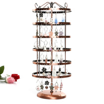 Iron Display Rack 288-hole large round six-layer rotating earrings display frame jewelry rack