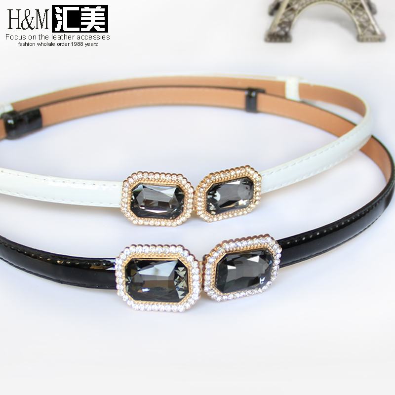 Womens belt leather fashion versatile thin belt with skirt big gem black diamond inlaid elastic decorative pants waist chain